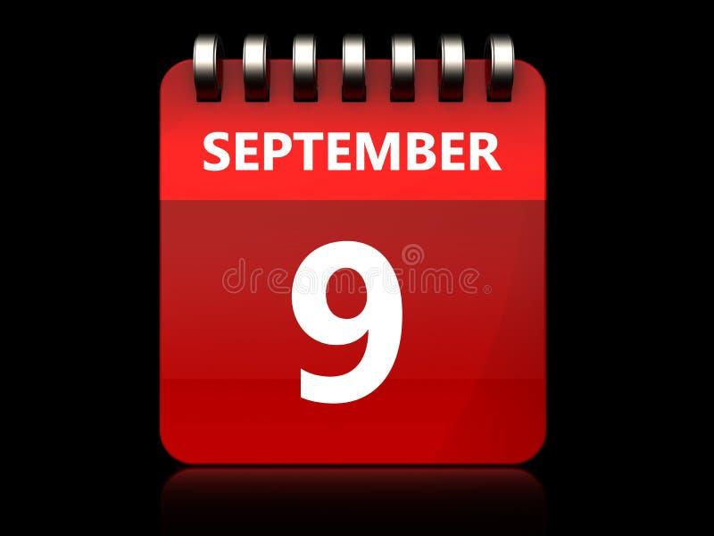 calendário do 9 de setembro 3d ilustração stock