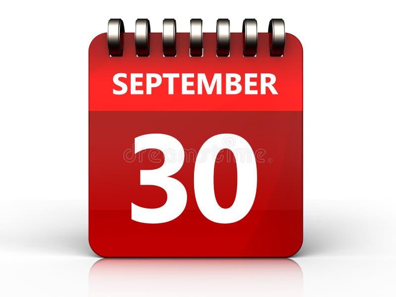 calendário do 30 de setembro 3d ilustração stock