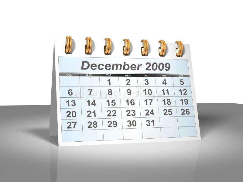 Calendário do Desktop (3D). Dezembro, 2009. ilustração stock