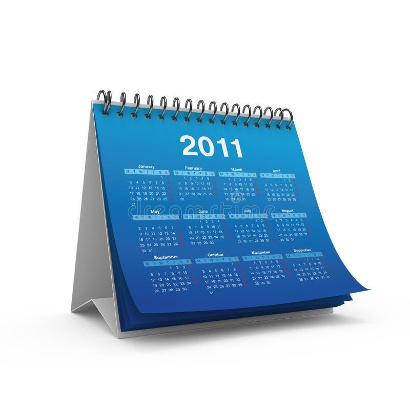 Calendário do Desktop por 2011 anos ilustração do vetor