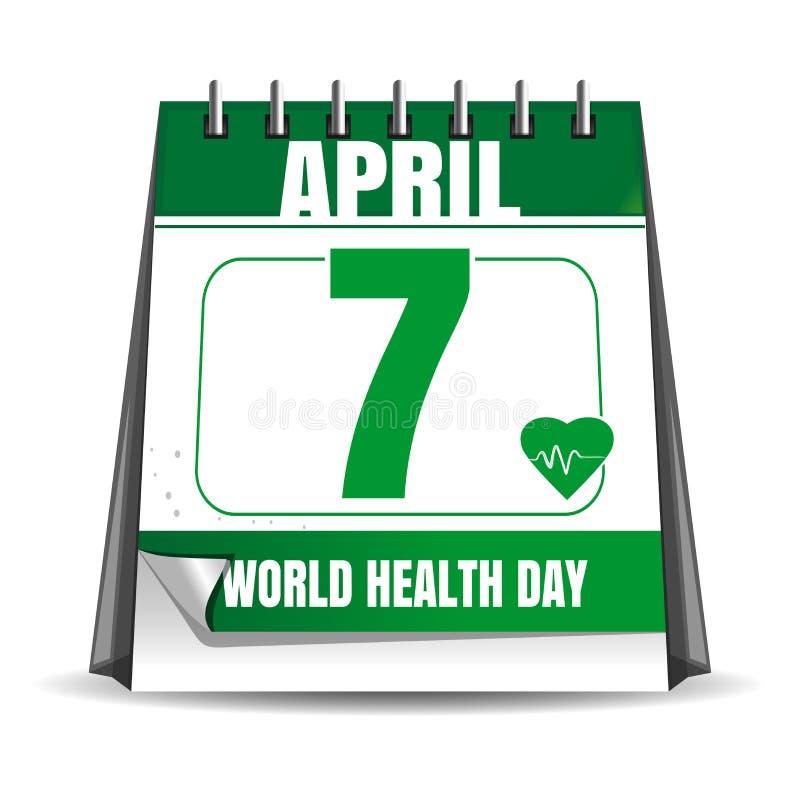 Calendário do dia de saúde de mundo 7 de abril ilustração do vetor