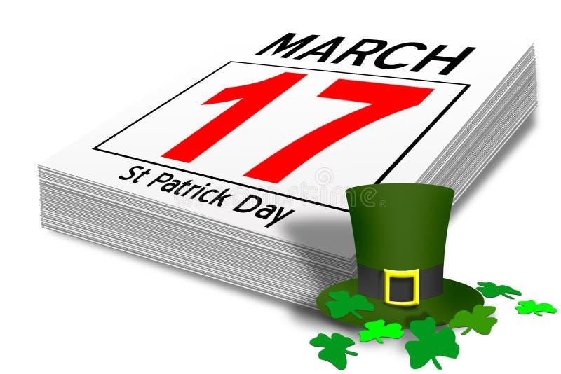 Calendário do dia do st patrick irlandês ilustração do vetor