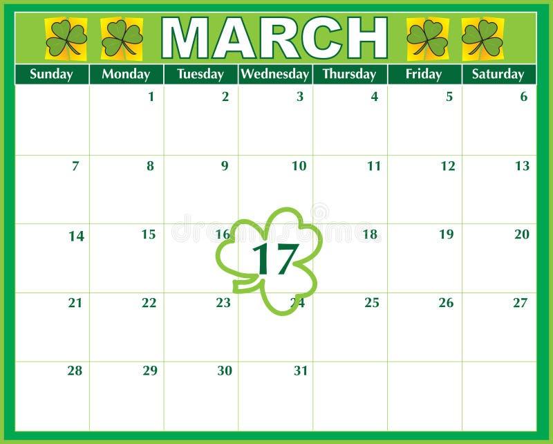 Calendário do dia do St. Patricks ilustração royalty free