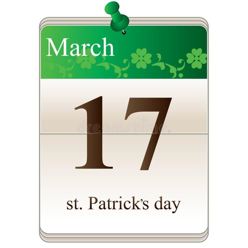 Calendário do dia do St Patricks ilustração stock