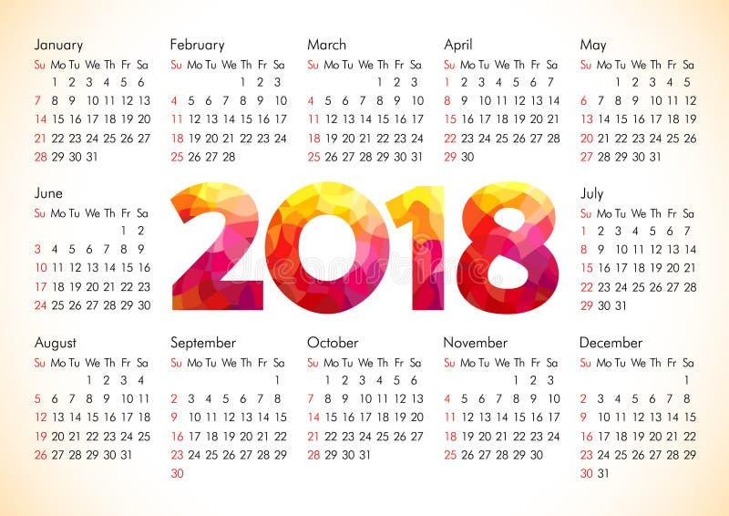 calendário 2018 do escritório ilustração stock
