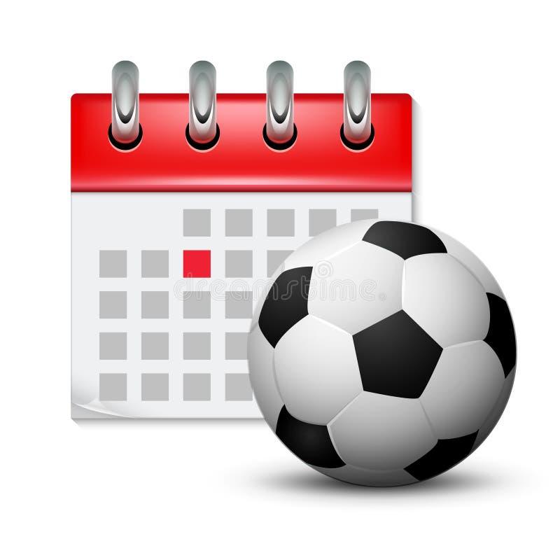 Calendário do esporte e bola realística do pé do futebol Evento da competição da programação da data do mês Ícone do calendário d ilustração royalty free