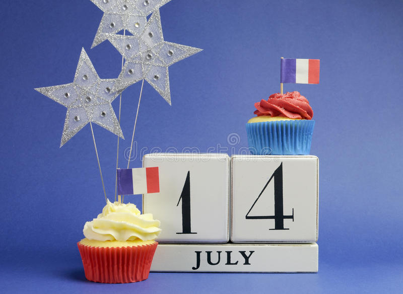Calendário do feriado nacional de França, o 14 de julho, décimo quarto de julho, dia de Bastille fotos de stock royalty free