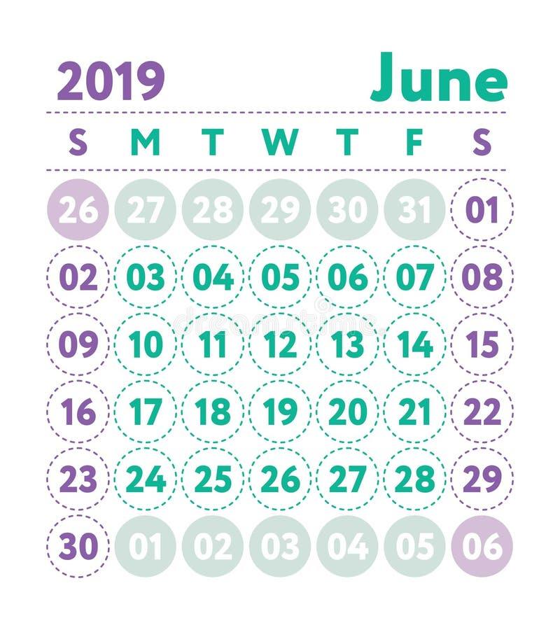 Calendário 2019 Calendário do inglês do vetor Mês de junho Começos da semana ilustração do vetor