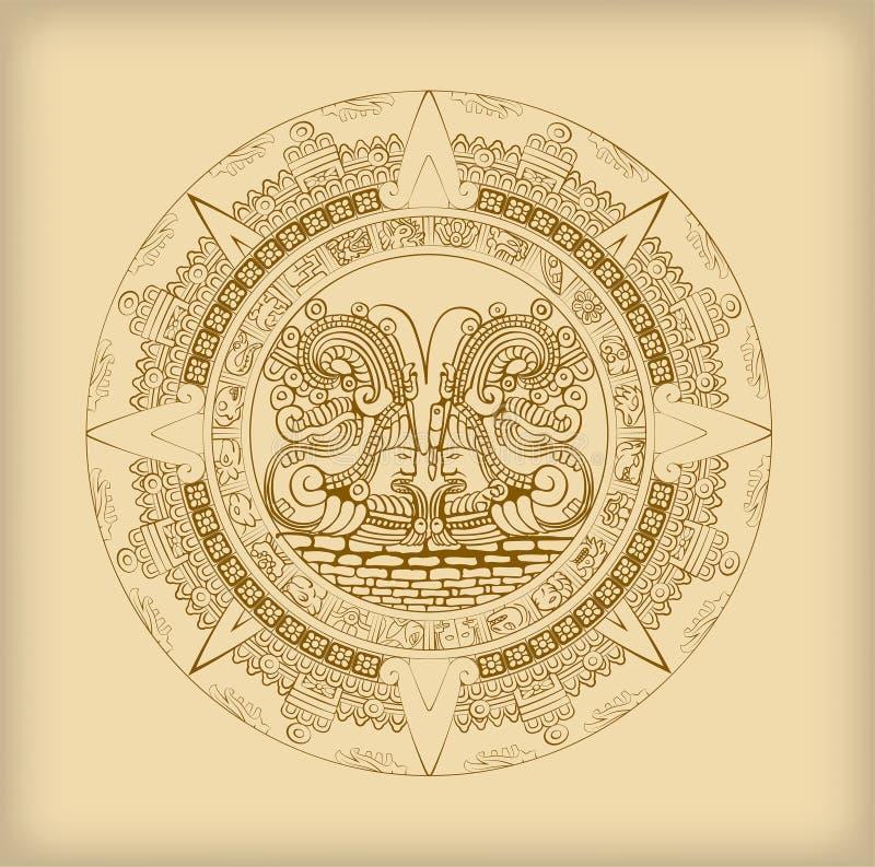 Calendário do Maya de símbolos maias ou astecas do hieróglifo do vetor ilustração royalty free