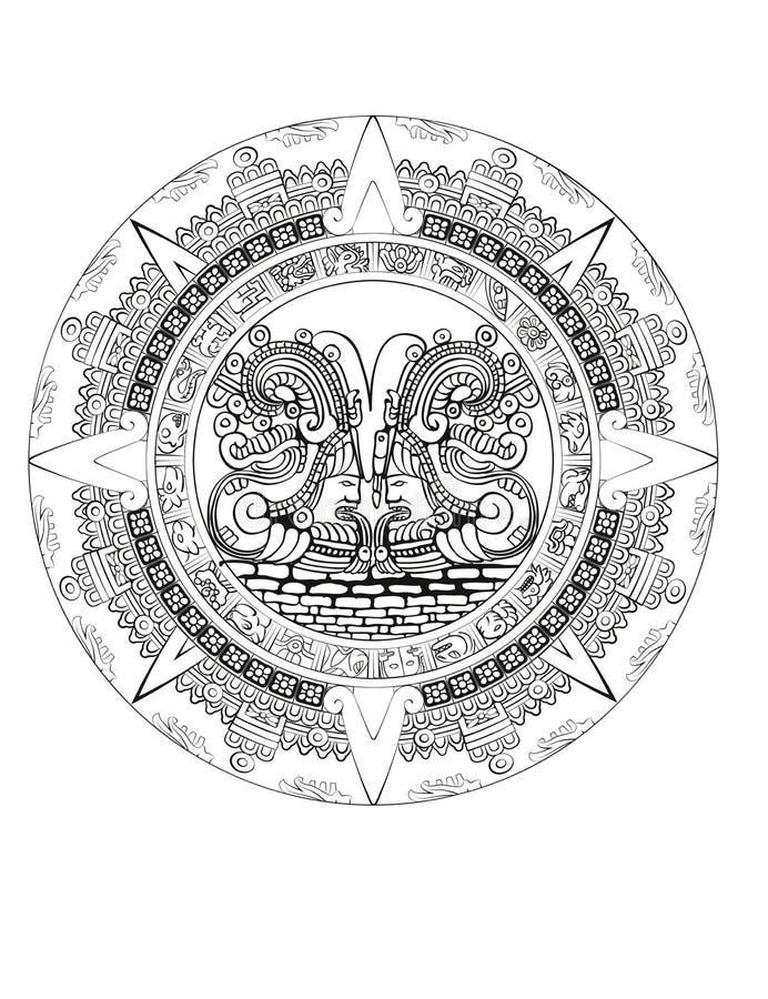 Calendário do Maya de sinais maias ou astecas do hieróglifo do vetor ilustração do vetor