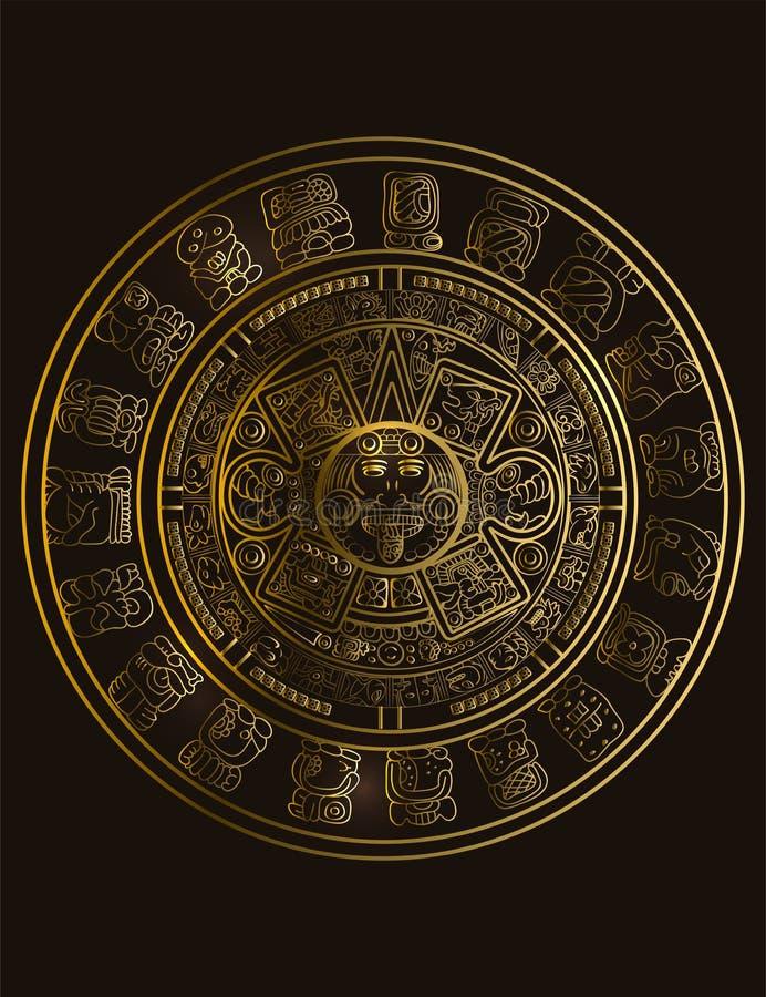 Calendário do Maya de sinais maias ou astecas do hieróglifo do vetor ilustração stock