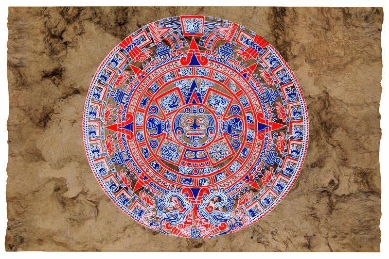 Calendário do Maya pintado no papel do amate ilustração do vetor