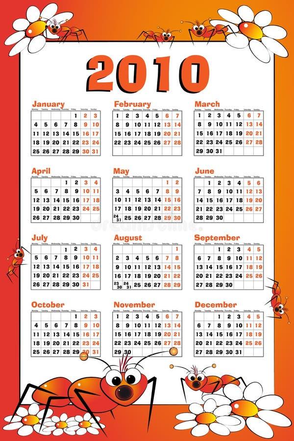 Calendário do miúdo com formiga ilustração stock