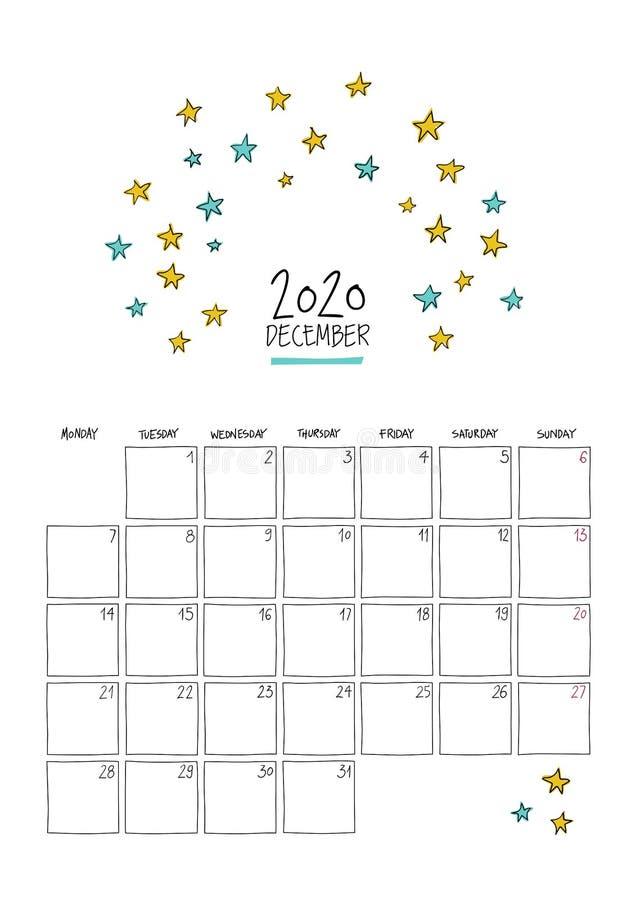 Calendário do muro de rosca de dezembro de 2020 ilustração stock