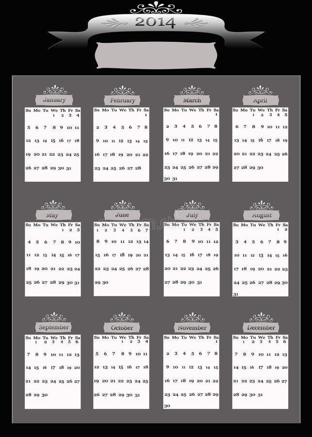 Calendário do negócio de 2014 profissionais ilustração royalty free