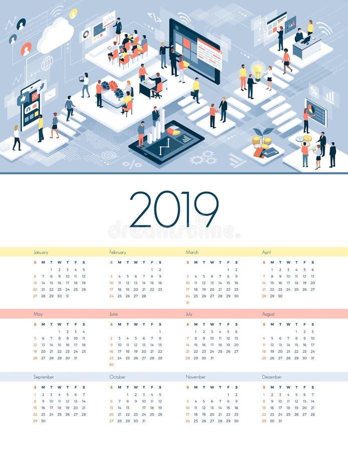 Calendário 2019 do negócio e da tecnologia ilustração do vetor