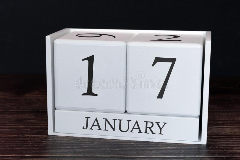 Calendário do negócio para janeiro, 17o dia do mês Data do organizador do planejador ou conceito da programação dos eventos fotos de stock royalty free