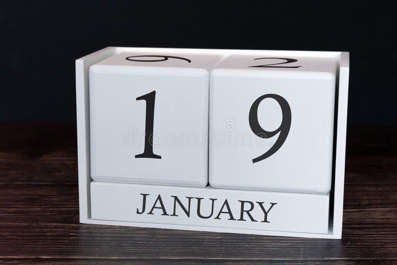 Calendário do negócio para janeiro, 19o dia do mês Data do organizador do planejador ou conceito da programação dos eventos ilustração stock