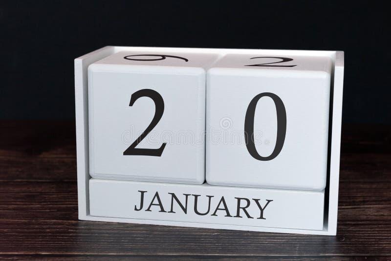 Calendário do negócio para janeiro, 20o dia do mês Data do organizador do planejador ou conceito da programação dos eventos fotos de stock