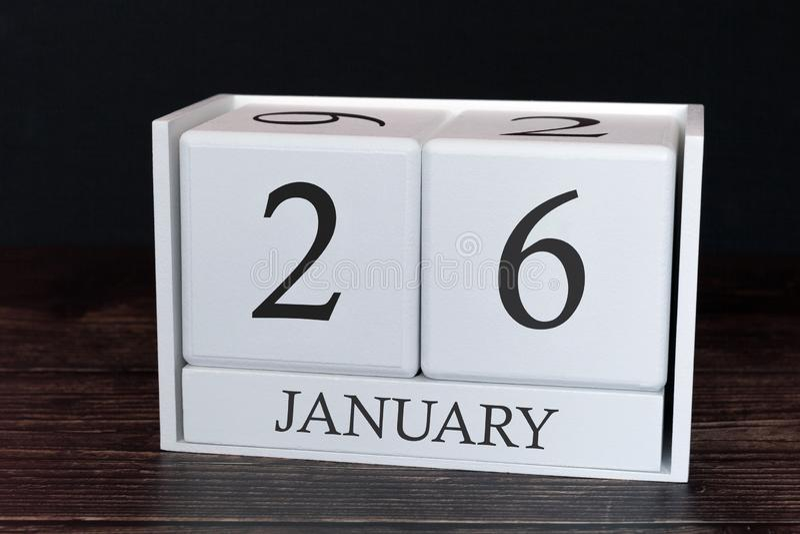 Calendário do negócio para janeiro, 26o dia do mês Data do organizador do planejador ou conceito da programação dos eventos imagem de stock