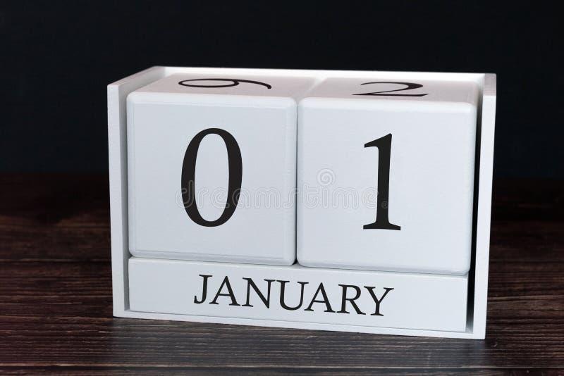 Calendário do negócio para janeiro, primeiro dia do mês Data do organizador do planejador ou conceito da programação dos eve foto de stock