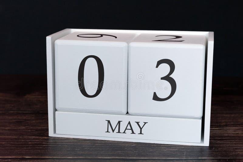 Calendário do negócio para maio, ó dia do mês Data do organizador do planejador ou conceito da programa??o dos eventos fotografia de stock