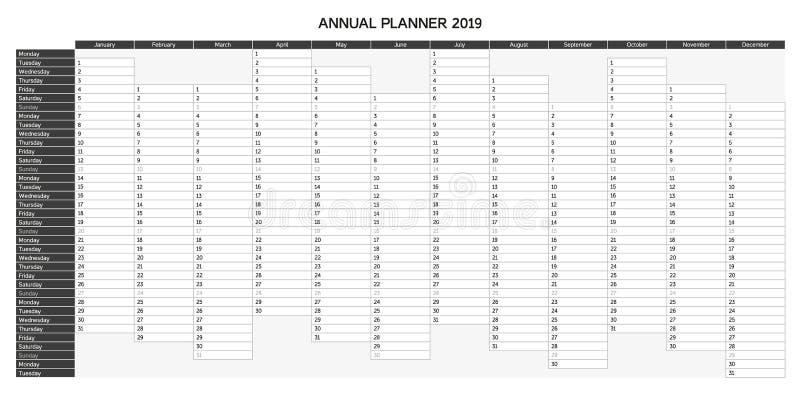 Calendário do planeamento do ano para 2019 em inglês - planejador anual 2019 ilustração royalty free
