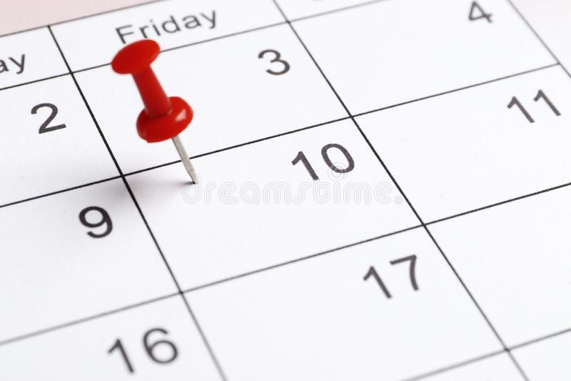 Calendário do planeamento do close-up fotografia de stock royalty free