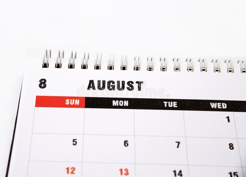 Calendário do planeamento de agosto imagem de stock