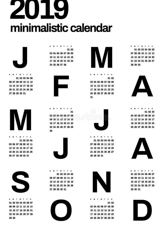 Calendário do projeto de Minimalistic por 2019 anos Uma cor