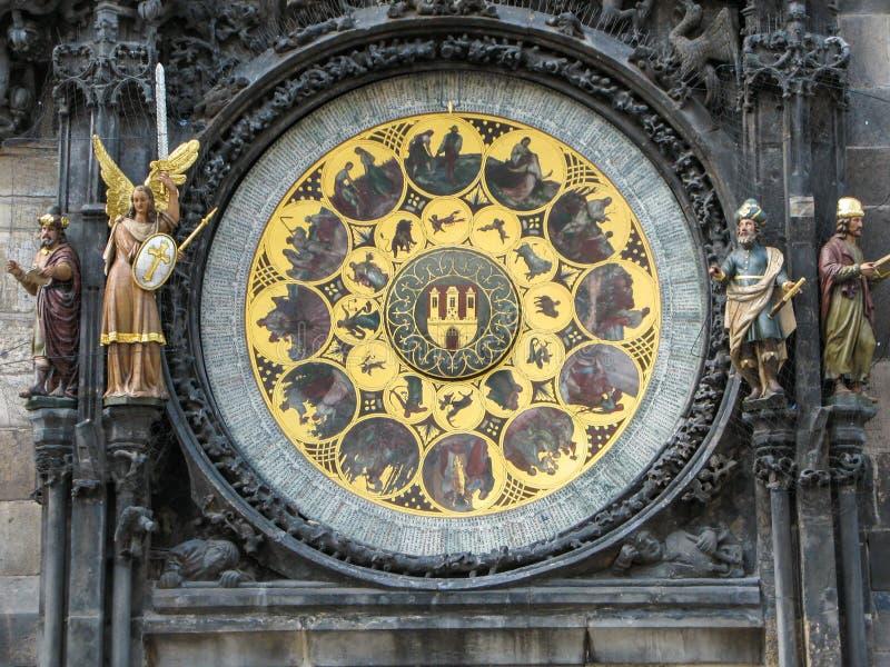 Calendário do pulso de disparo astronômico medieval em Praga, República Checa imagem de stock
