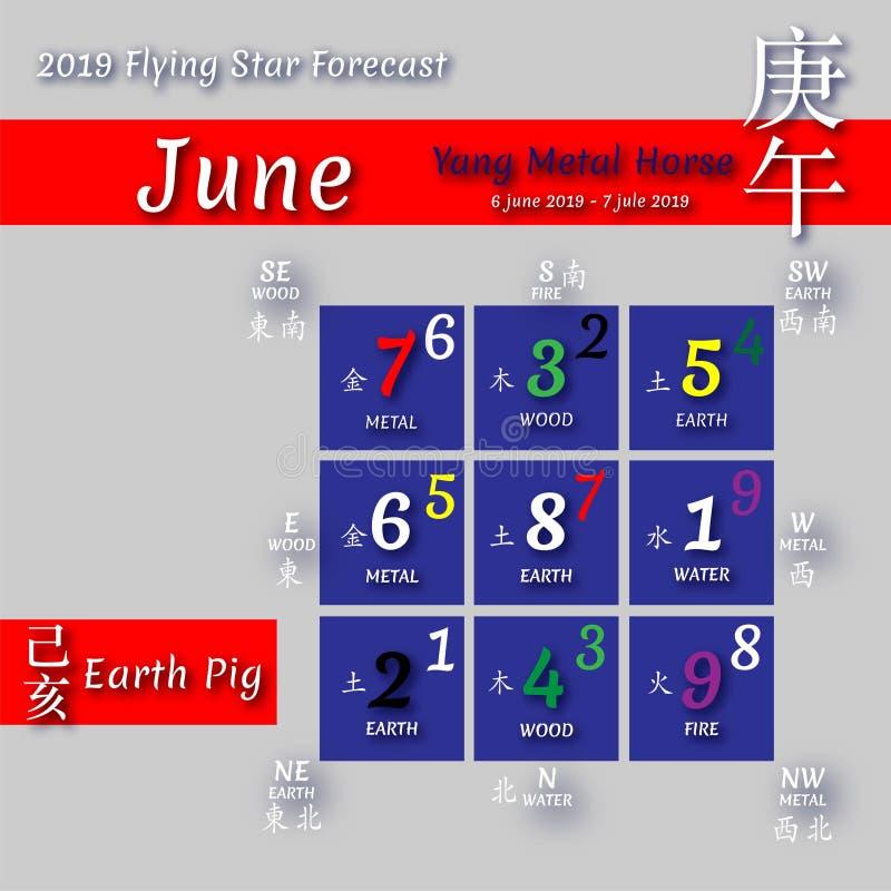 Calendário 2019 do shui de Feng em meses ilustração royalty free