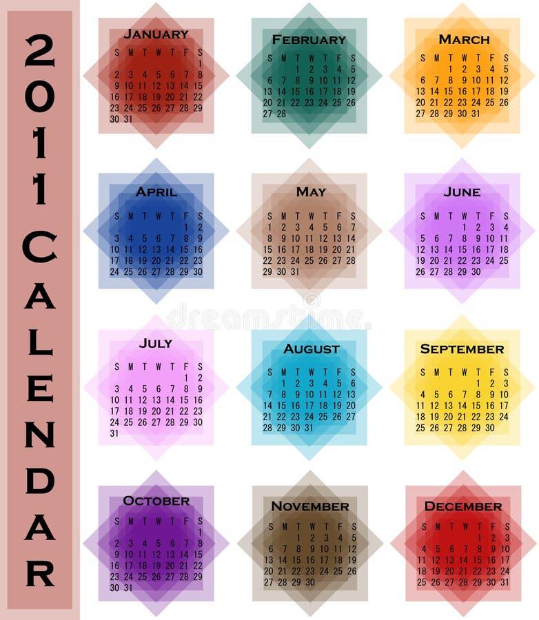 Calendário do sumário 2011 ilustração royalty free