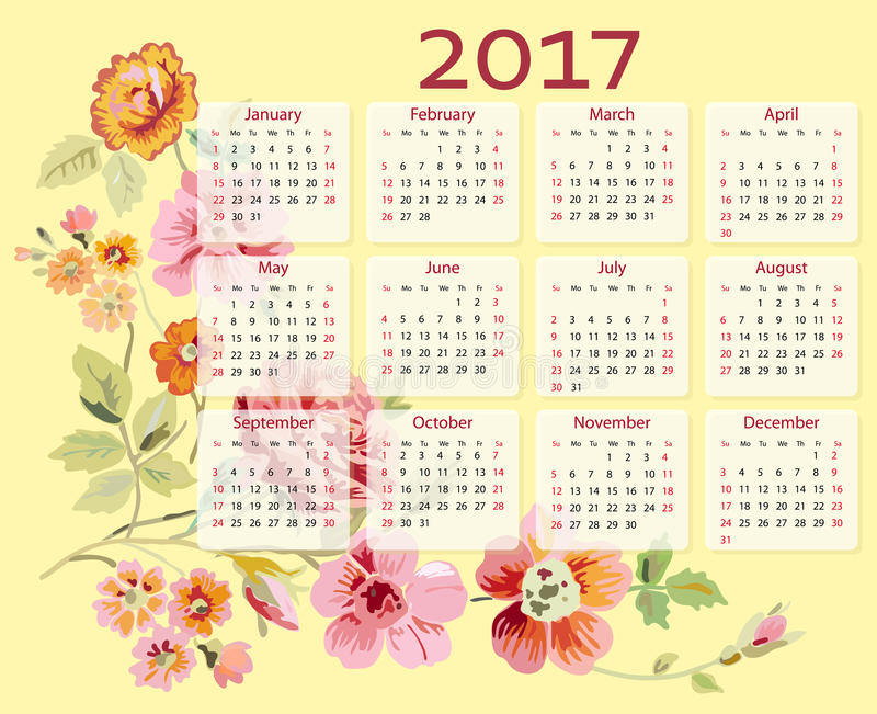 Calendário do vetor 2017 anos com flores ilustração royalty free