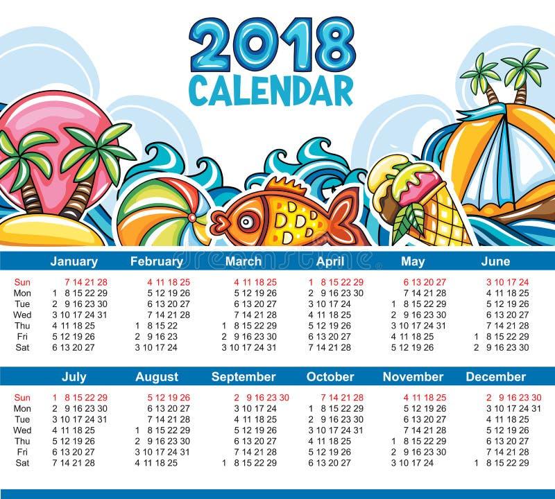 Calendário do vetor 2018 anos Começos domingo imagens de stock