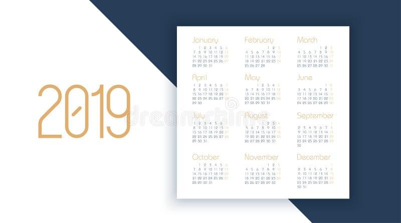 Calendário do vetor 2019 anos Projeto do planejador Molde do vetor do calendário 2019 ilustração royalty free