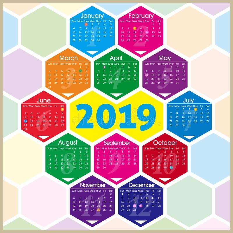 Calendário do vetor 2019 com teste padrão do hexágono ilustração stock