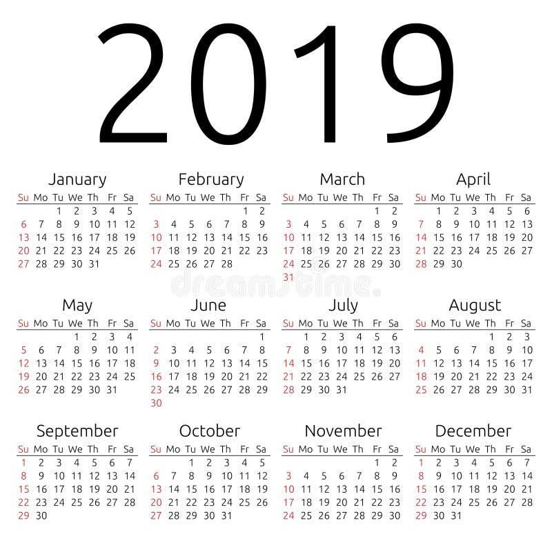 Calendário 2019 do vetor, domingo ilustração stock