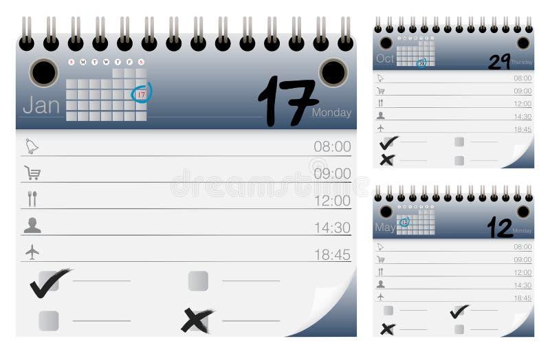 Calendário do vetor e organizador Icons Set imagem de stock royalty free