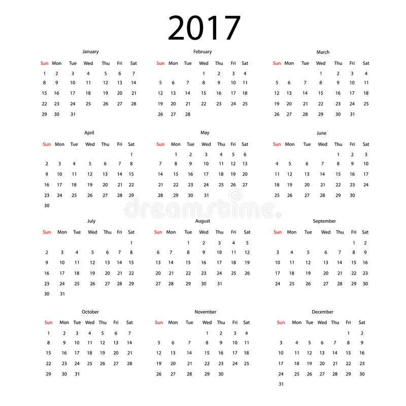 Calendário do vetor para 2017 ilustração stock