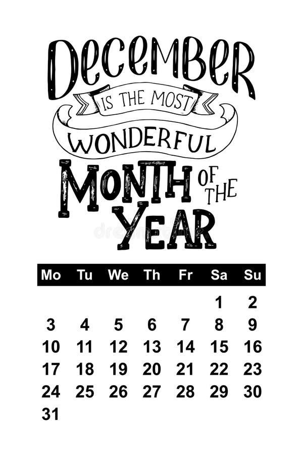 Calendário do vetor para dezembro de 2018 Citações tiradas mão da rotulação para o projeto do calendário ilustração royalty free