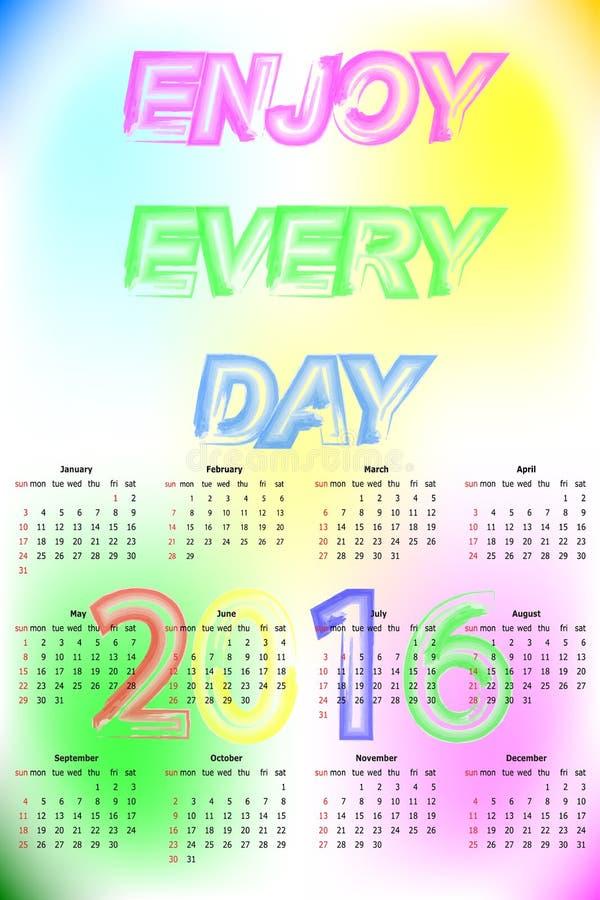Calendário 2016 do vetor A semana começa domingo ilustração do vetor