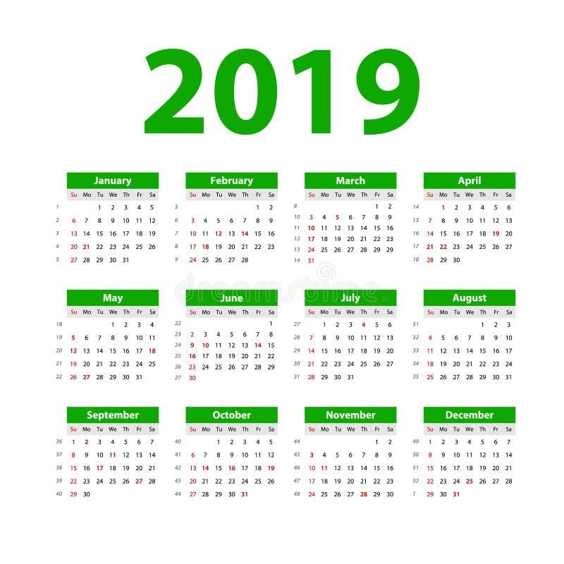 Calendário 2019 do vetor Verde Começos da semana em domingo Calendário inglês Ano novo Projeto simples da cor ilustração stock
