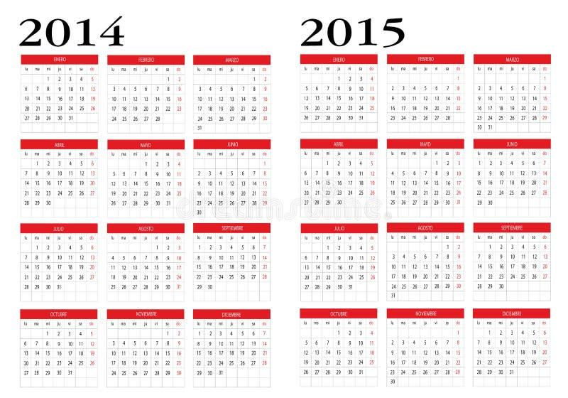 Calendário 2014 e 2015 ilustração do vetor