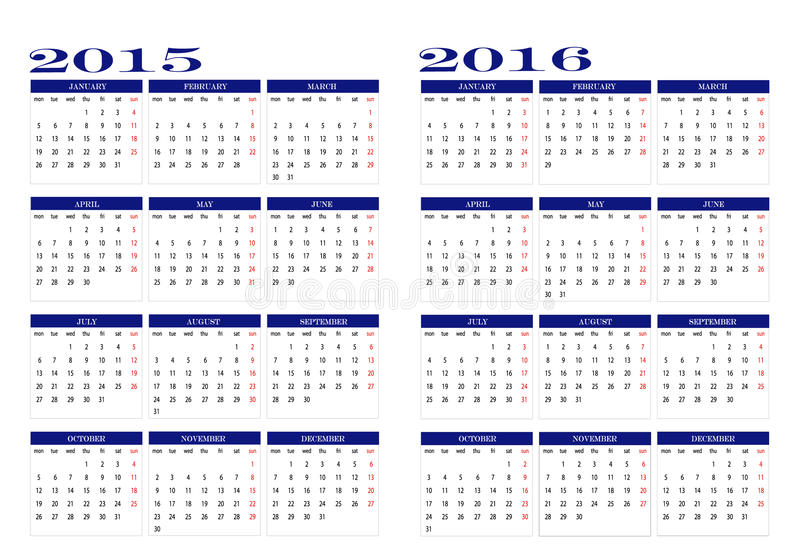 Calendário 2015 e 2016 ilustração stock