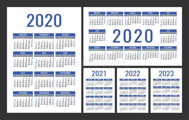 Calendário 2020, 2021, 2022 e 2023 Conjunto de vetor de cor inglês Modelo de calender de parede vertical e horizontal ou de bolso ilustração stock