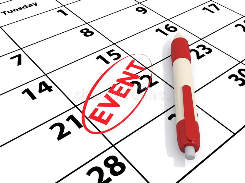 Calendário e evento imagem de stock royalty free