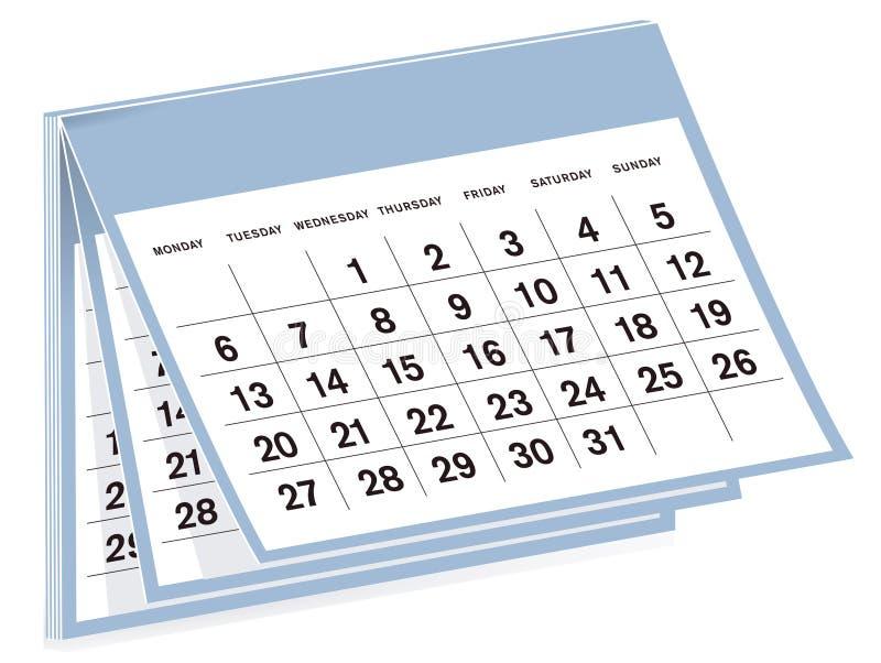 Calendário e nenhum ano especific ilustração stock