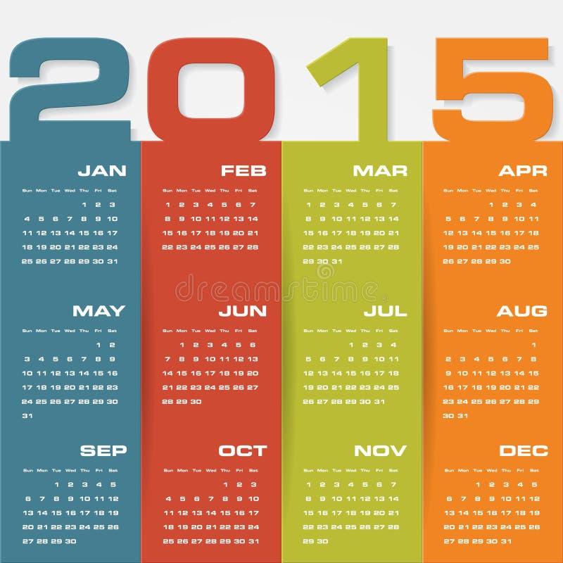 Calendário editável simples 2015 do vetor ilustração stock