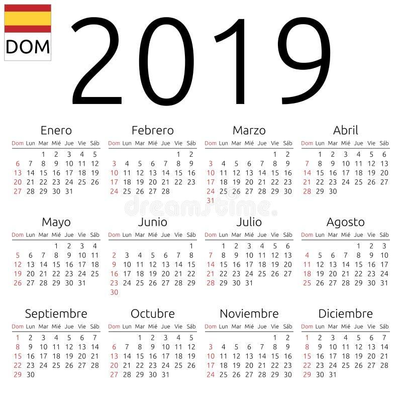Calendário 2019, espanhol, domingo ilustração stock